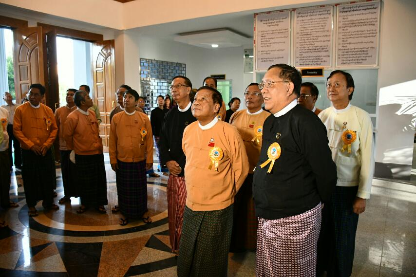 Union Chief Justice U Htun Htun Oo and party inspect the Mandalay Region High Court building. Photo: MNA