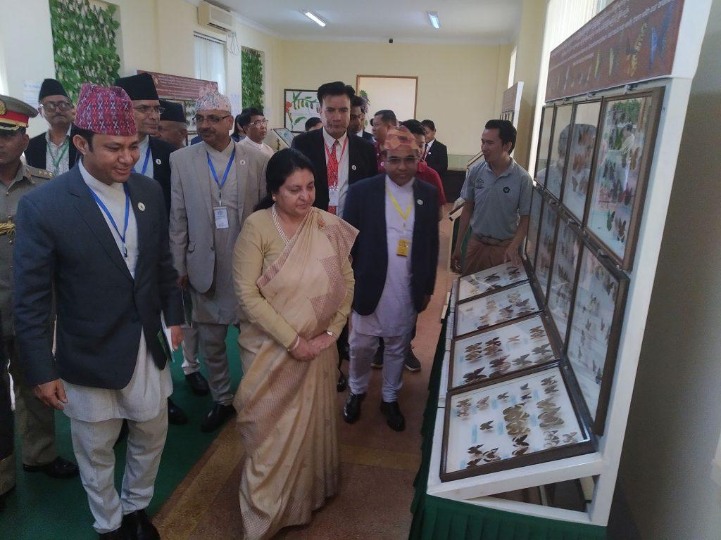 Nepali President Mrs Bidya Devi Bhandari looks around the ecosystems housing rare flora and fauna at the National Kandawgyi Garden in PyinOoLwin yesterday.Photo: MNA