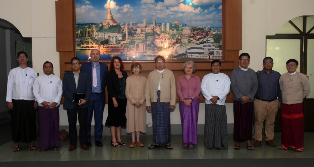 Union Minister Dr Pe Myint and the delegation from BBC pose for a photo after the meeting.Photo: MNA
