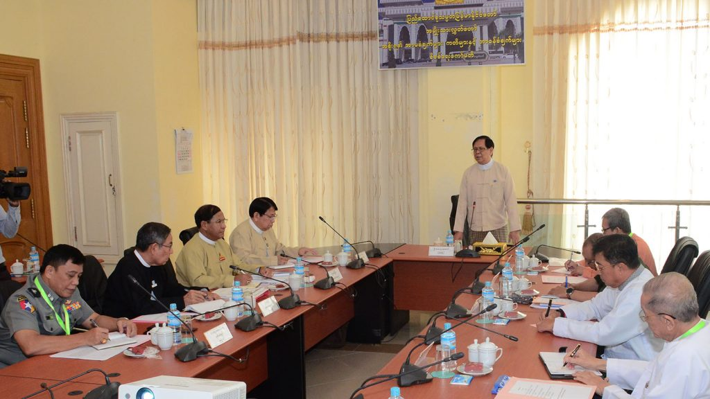 Amyotha Hluttaw Deputy Speaker U Aye Tha Aung addresses the coordination meeting for the final report of the Committee on Supporting Peace and Stability Rakhine State in Nay Pyi Taw yesterday. Photo: MNA