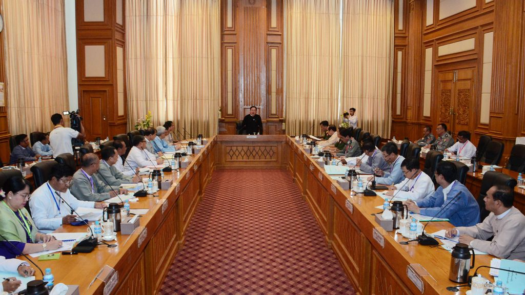 Pyidaungsu Hluttaw and Pyithu Hluttaw Speaker U T Khun Myat addresses the coordination meeting of Central Committee for Organizing Hluttaw Meetings and working committees in Nay Pyi Taw yesterday.Photo: MNA