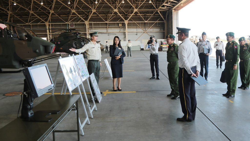 Defence Services Commander-in-Chief Senior General Min Aung Hlaing observes Tachikawa Camp in Tokyo yesterday.Photo: Office of the Commander-in-Chief