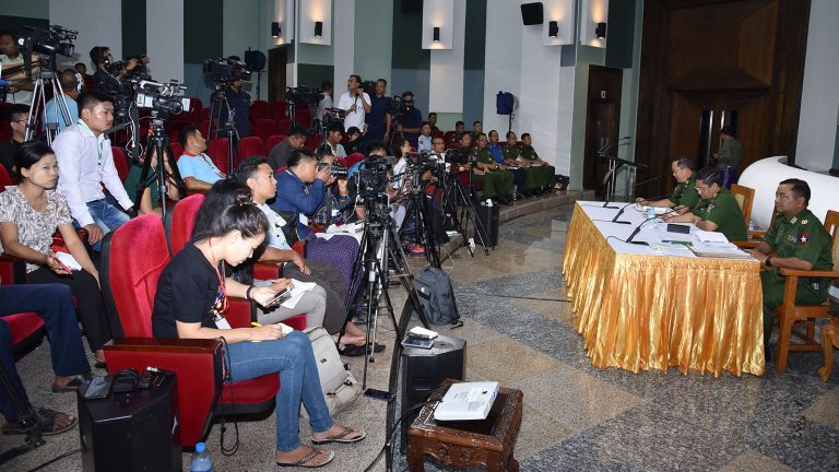The Tatmadaw True News Team holds the press conference at the Defence Services Museum in Nay Pyi Taw yesterday.Photo: MNA