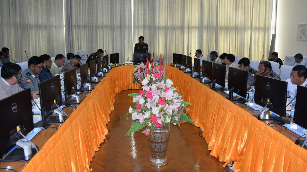 Union Minister for Home Affairs Lt-Gen Kyaw Swe addresses at the second meeting of Anti-Money Laundering Central Board in 2019 in Nay Pyi Taw yesterday.Photo: MNA