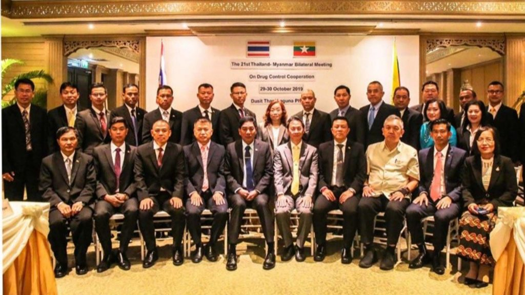 Myanmar Police Chief Police Lt-Gen Aung Win Oo and officials from Thailand's Office of Narcotics Control Board pose for a documentary photo at the 21st Myanmar-Thailand Bilateral Meeting on Drug Control Cooperation meeting in Phuket, Thailand.Photo: MNA
