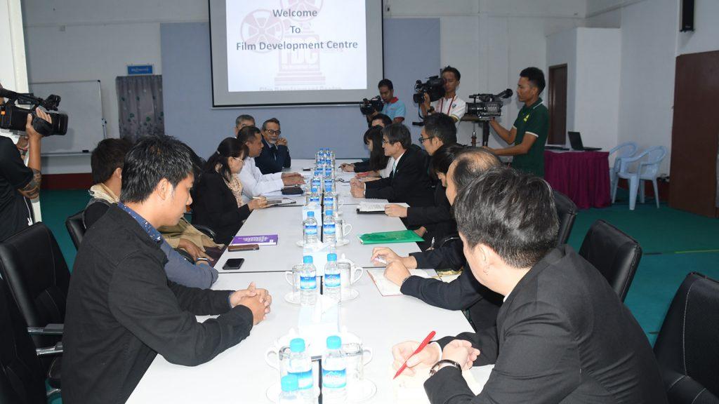 Yangon's Film Development Center members hold talks with Japan's Commissioner for Cultural Affairs Mr Miyata Ryohei in Yangon. Photo: MNA
