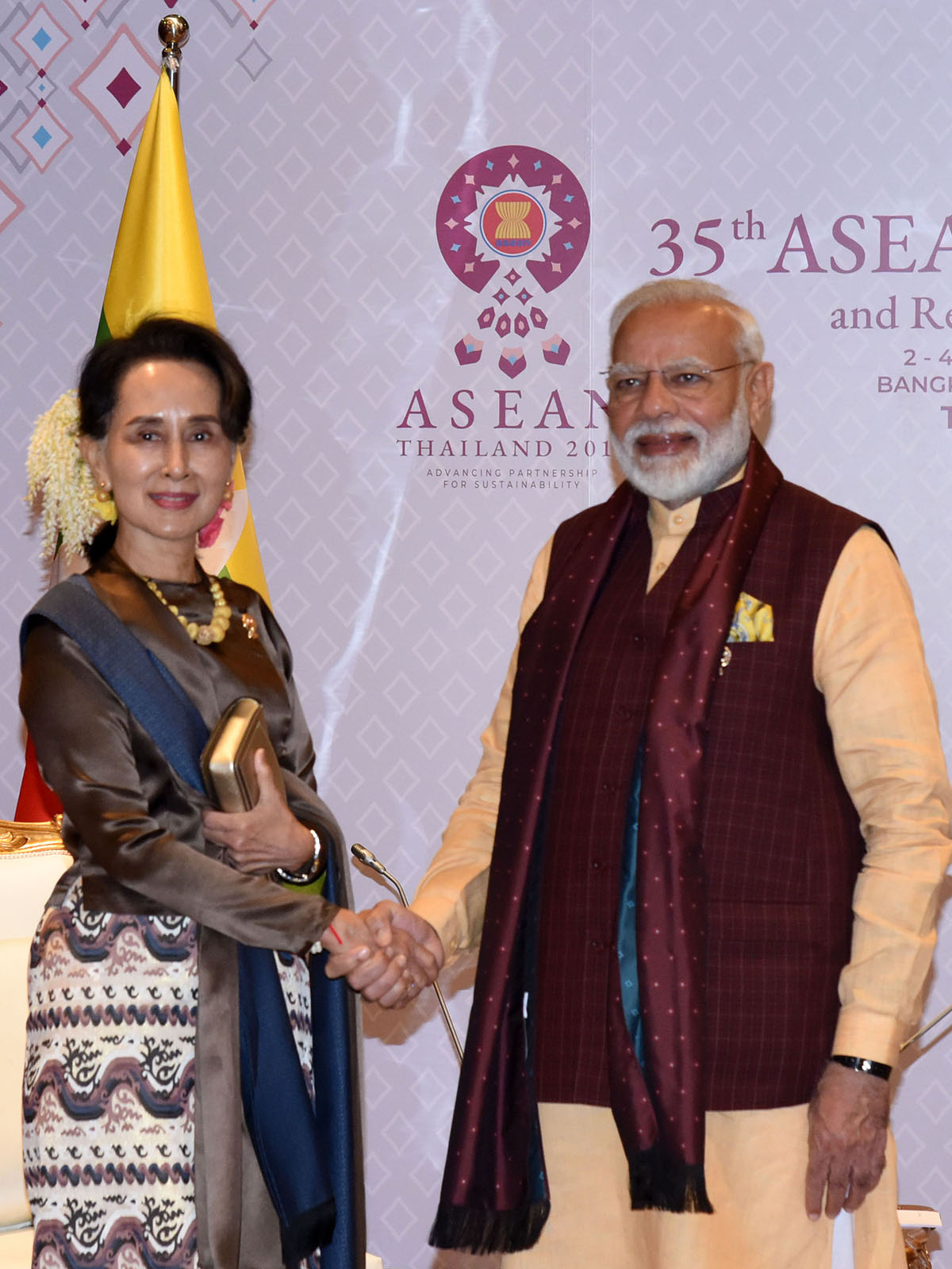 State Counsellor Daw Aung San Suu Kyi meets with Indian Prime Minister Mr. Narendra Modi.Photo: MNA