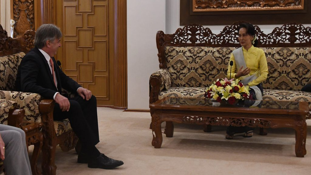 State Counsellor Daw Aung San Suu Kyi meets with German Ambassador Mr Thomas Karl Neisinger at the Ministry of Foreign Affairs in Nay Pyi Taw on 19 November 2019.Photo: MNA