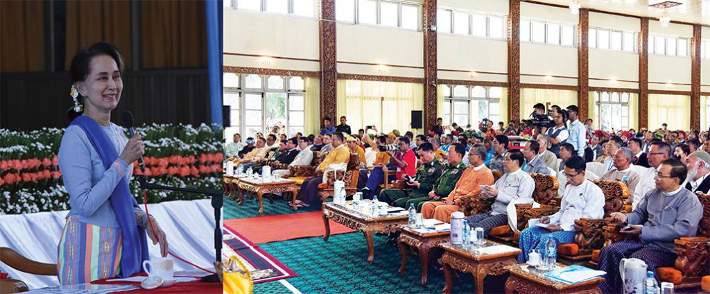State Counsellor Daw Aung San Suu Kyi meets with locals of Shan State at the Town Hall in Taunggyi yesterday.Photo: MNA
