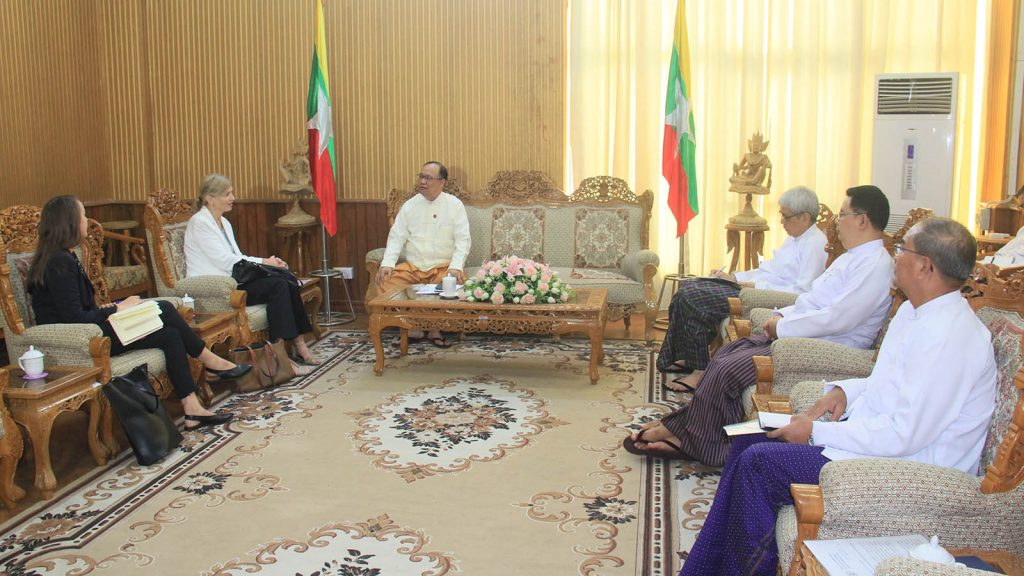 Union Minister U Thant Sin Maung meets with Norwegian Ambassador Ms Tone Tinnes at the Ministry of Transport and Communications in Nay Pyi Taw yesterday.Photo: MNA
