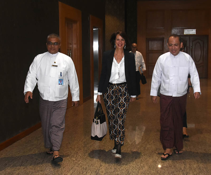 Special Envoy of the UN Secretary-General on Myanmar Mrs Christine Schraner Burgener welcomed by officials from the Ministry of Foreign Affairs at Nay Pyi Taw International Airport.Photo: MNA