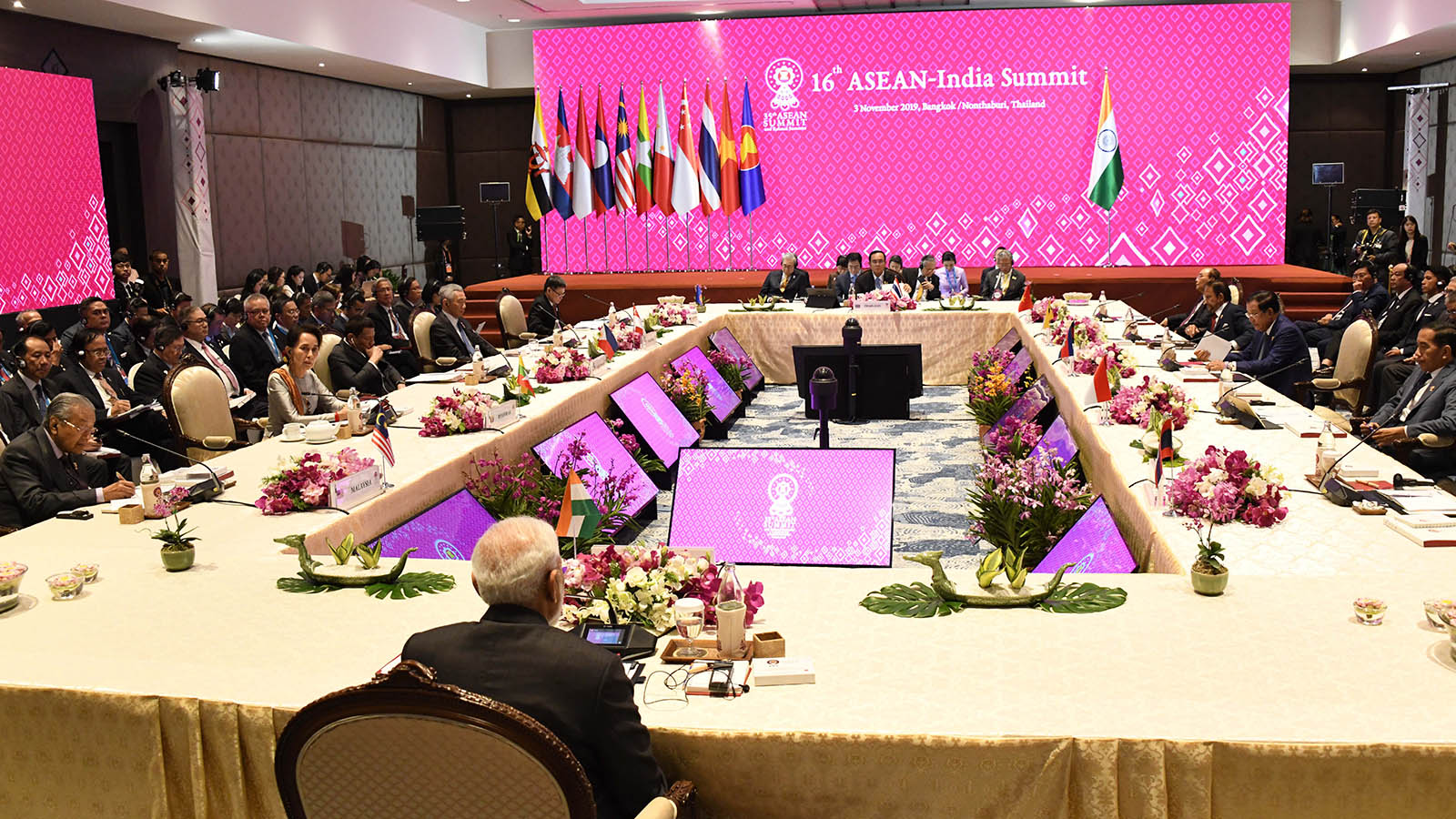 State Counsellor Daw Aung San Suu Kyi attends the 16th ASEAN-India Summit in Bangkok yesterday.Photo: MNA