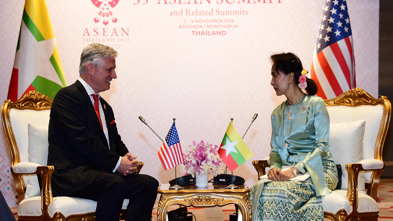 State Counsellor Daw Aung San Suu Kyi meets with United States National Security Advisor Mr Robert Charles O'Brien at the Impact Exhibition and Convention Center in Bangkok, Thailand.Photo: MNA