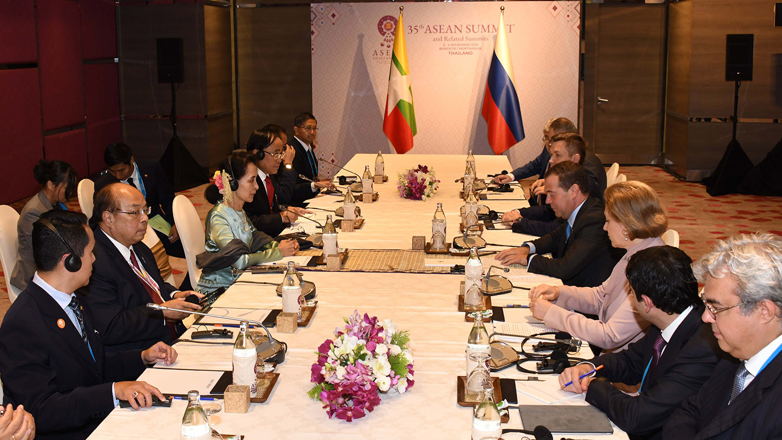 State Counsellor Daw Aung San Suu Kyi holds talks with Prime Minister of the Russian Federation Mr Dmitry Medvedev in Bangkok, Thailand.Photo: MNA