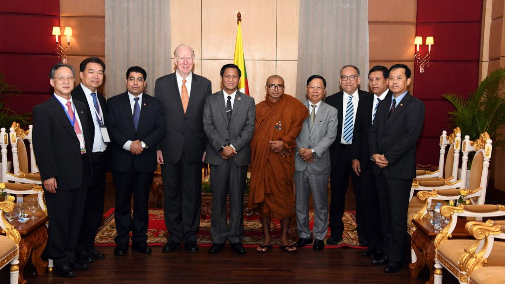 The Myanmar delegation led by Vice President U Henry Van Thio poses for photo together with Dr Thomas G Walsh, the President of Universal Peace Federation (UPF), and party at the Sokha Phnom Penh Hotel yesterday.Photo: MNA