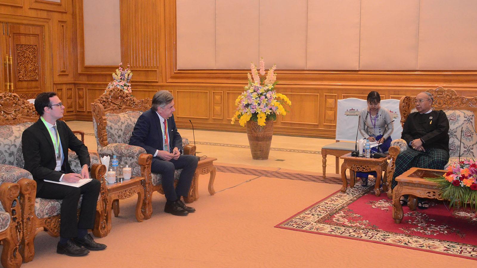 Amyotha Hluttaw Speaker Mahn Win Khaing Than meets with German Ambassador Mr Thomas Karl Neisinger in Nay Pyi Taw yesterday.Photo: MNA