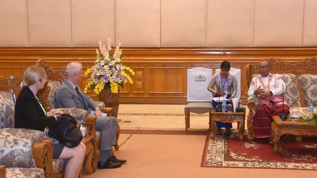 Amyotha Hluttaw Speaker Mahn Win Khaing Than meets with Swiss Ambassador Mr Tim Enderlin.Photo: MNA
