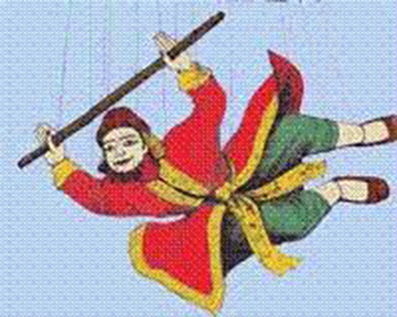 Zawgyi (Alchemist) a puppet flying through the air. Redrawn by UKT from an unknown source.