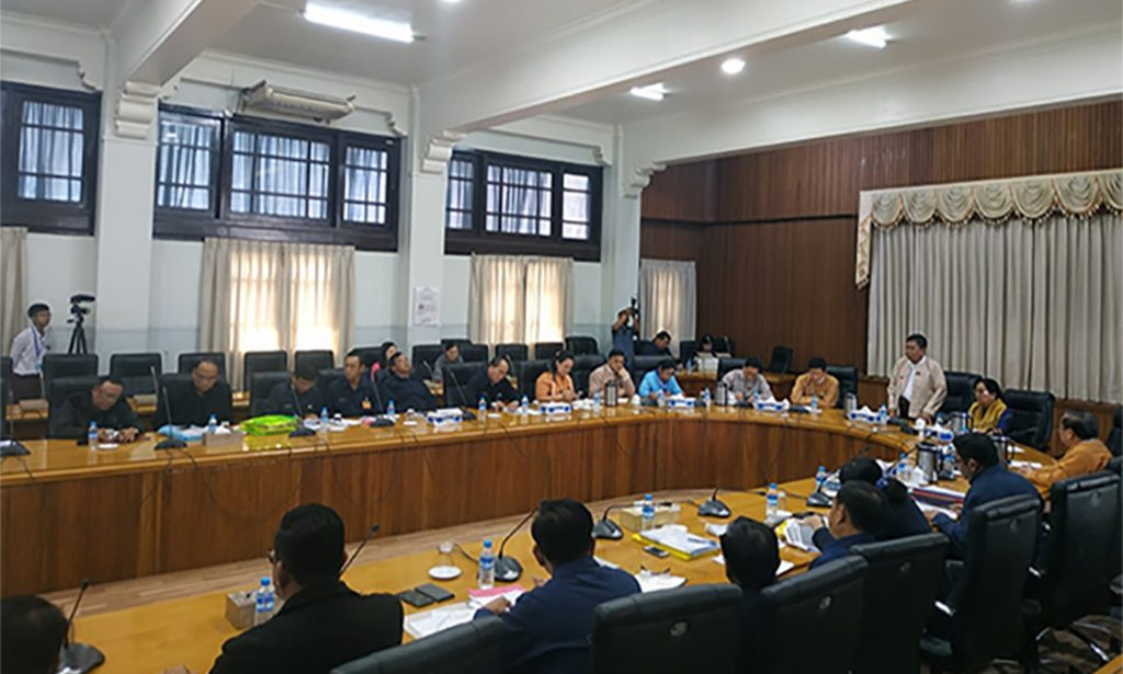 Yangon Mayor U Maung Maung Soe delivers the speech at the Yangon City Development Committee (YCDC) meeting in Yangon. Photo: Supplied