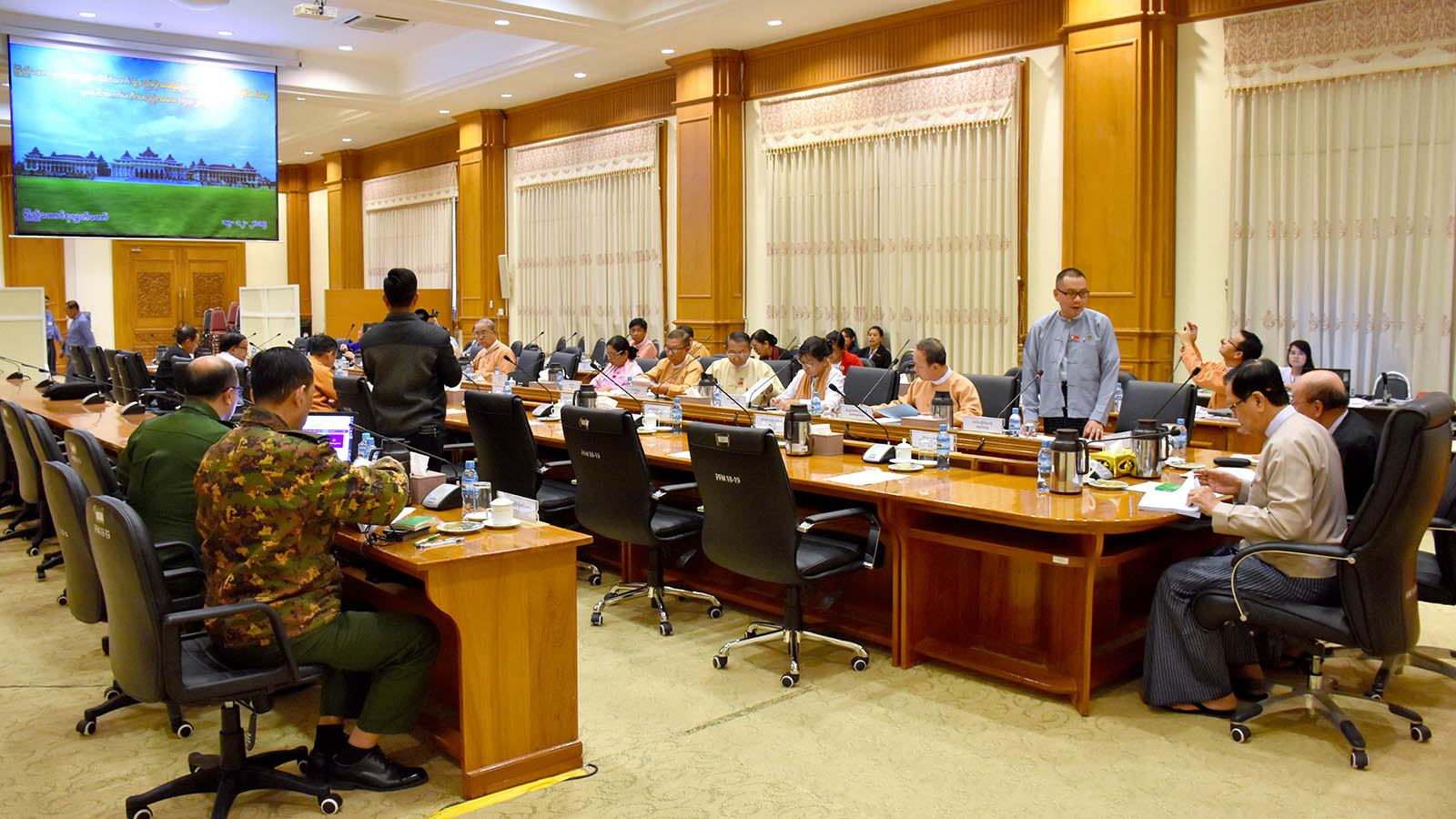 The meeting of the Joint Committee on Amending the 2008 Constitution being held  in Nay Pyi Taw yesterday.Photo: MNA