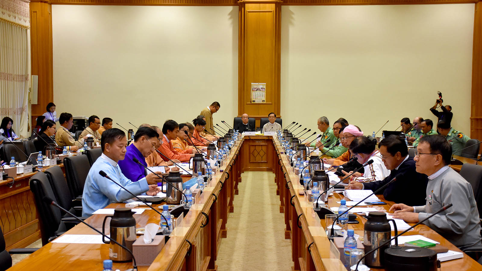 The meeting 69/2019 of the Joint Committee on Amending the 2008 Constitution is in progress at Pyidaungsu Hluttaw Building D in Nay Pyi Taw on 16 December. Photo: MNA