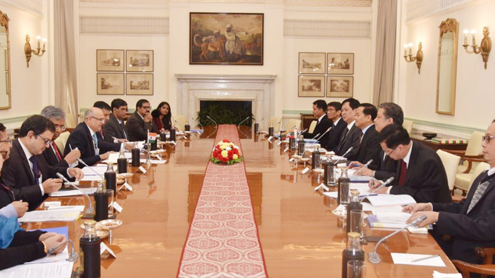 Permanent Secretary of the Ministry of Foreign Affairs U Soe Han and Foreign Secretary of the Ministry of External Affairs of India Mr Vijay Gokhale attend the 18th round of Myanmar-India Foreign Office Consultations (FOC) at the Hyderabad House in New Delhi on 6 December 2019.Photo: MNA