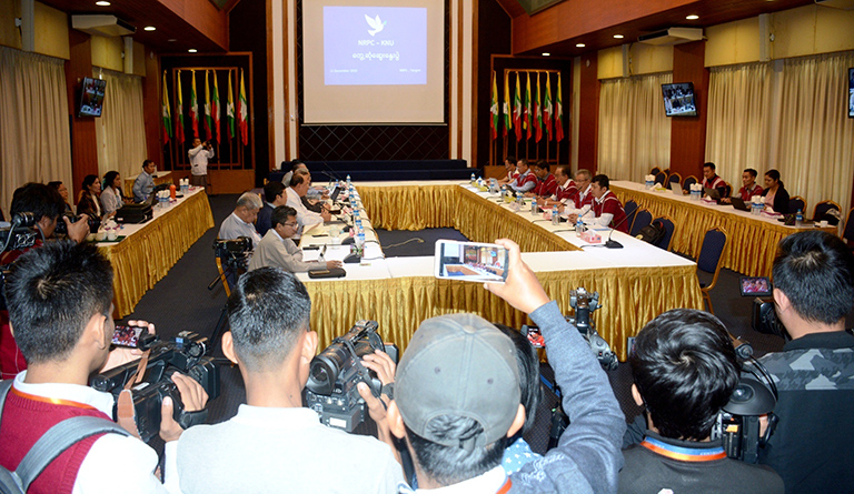 Representatives of National Reconciliation and Peace Centre (NRPC) and Karen National Union (KNU) hold the meeting on peace process in Yangon.Photo: Phoe Htaung