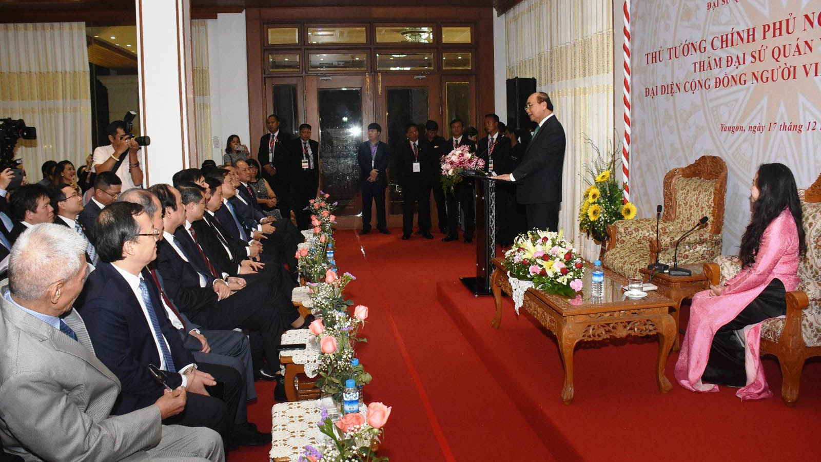 Prime Minister Nguyen Xuan Phuc of the Socialist Republic of Viet Nam delivers the speech at the Vietnamese Embassy in Myanmar yesterday. Photo: MNA