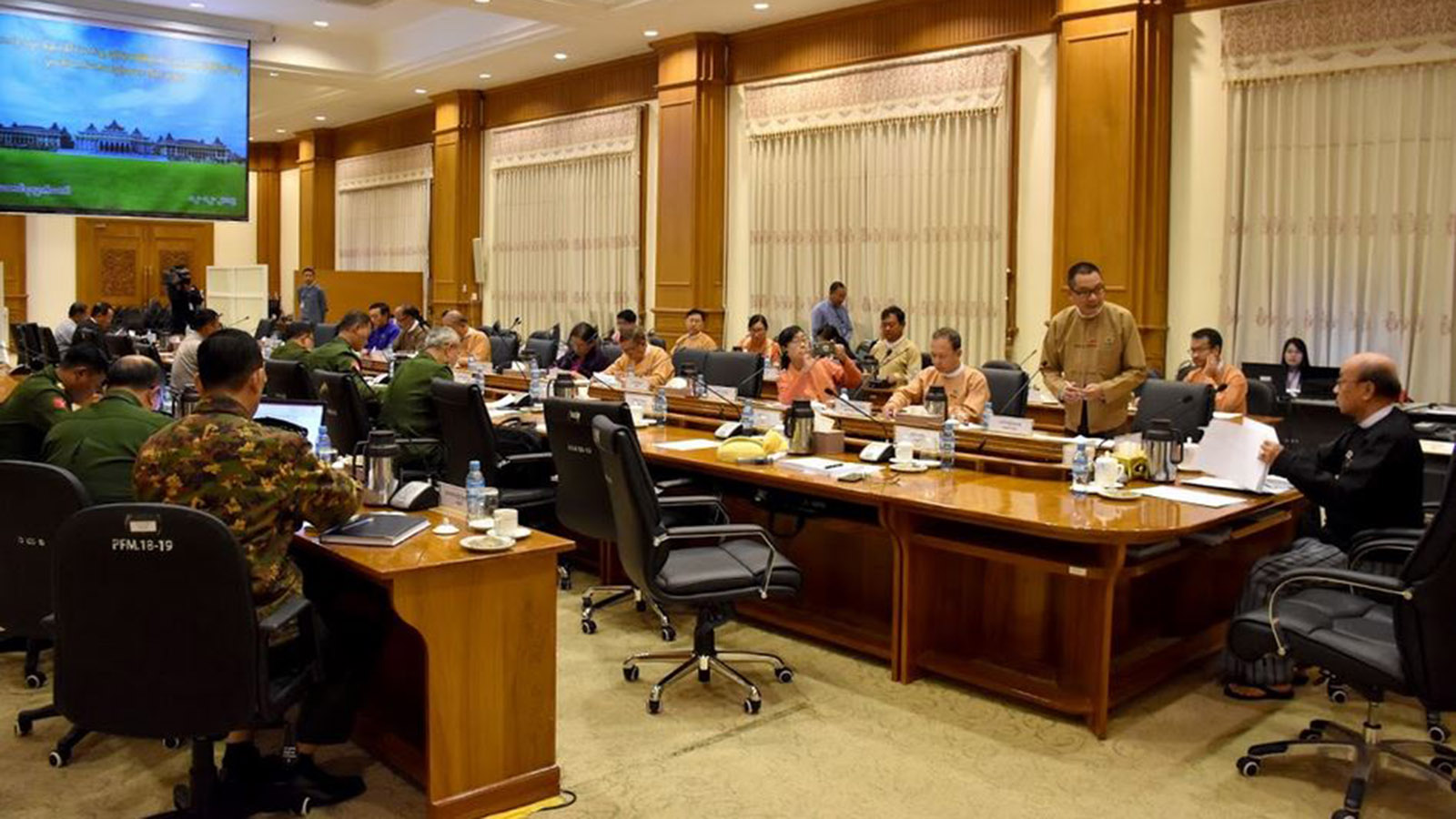 Pyidaungsu Hluttaw Deputy Speaker U Tun Tun Hein attends the Joint Committee on Amending the 2008 Constitution meeting 68/2019 in Nay Pyi Taw yesterday.Photo: MNA