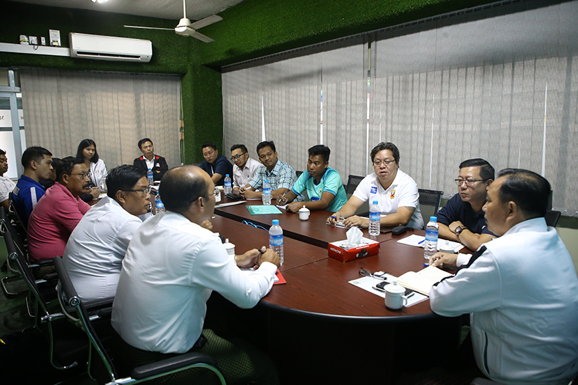 The coordination meeting for the MFF Charity Cup 2020 in progress at the meeting hall of the Myanmar National League Office in Yangon on 30 December 2019. Photo: MFF