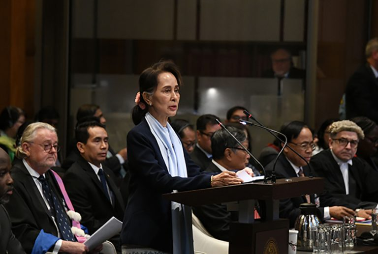 State Counsellor Daw Aung San Suu Kyi delivers the statement at the International Court of Justice at The Hague, the Netherlands on 11 December.Photo: MNA