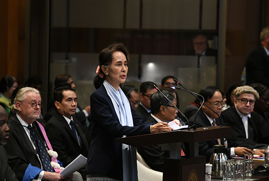 State Counsellor Daw Aung San Suu Kyi delivers the statement at the International Court of Justice at The Hague, the Netherlands on 11 December. Photo: MNA