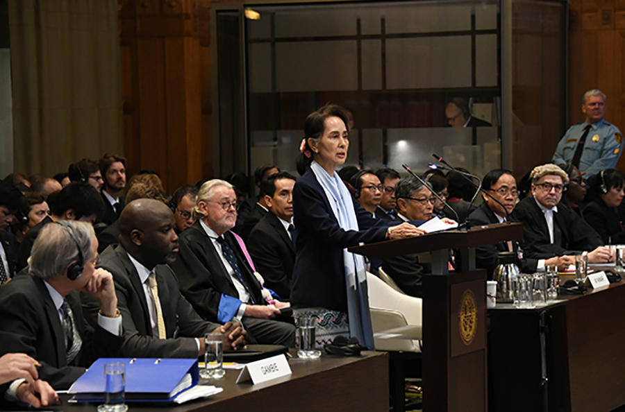 State Counsellor Daw Aung San Suu Kyi delivers the statement at the International Court of Justice at The Hague, Netherlands, on 11 December. Photo: MNA