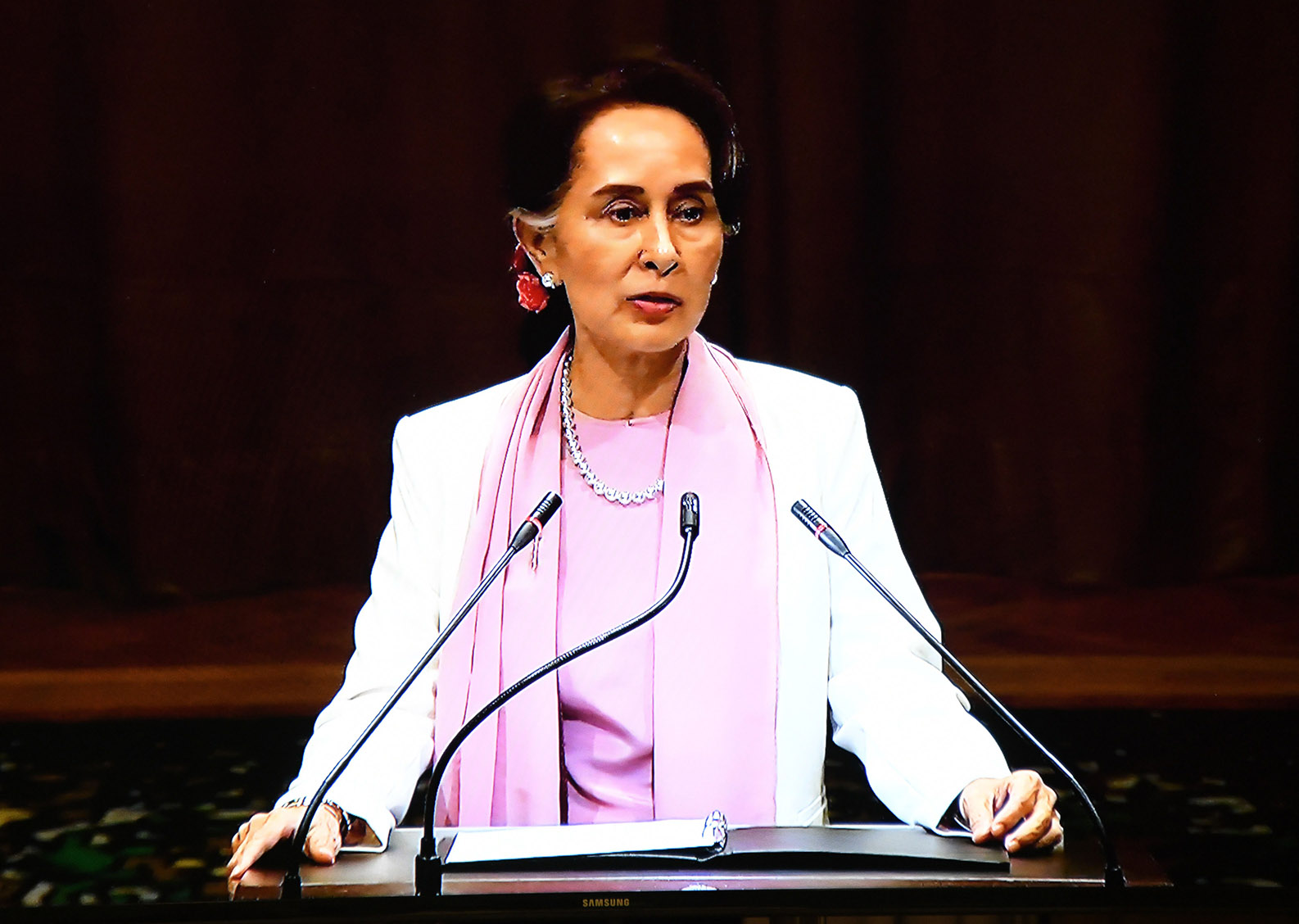 State Counsellor Daw Aung San Suu Kyi delivers the statement at the International Court of Justice (ICJ) at The Hague, the Netherlands. Photo: MNA