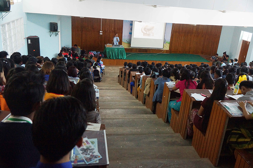 Students attending the literary talks at the Youth All-Round Development Festival in Magway University yesterday. Photo: Wain Yan, Ye Moe