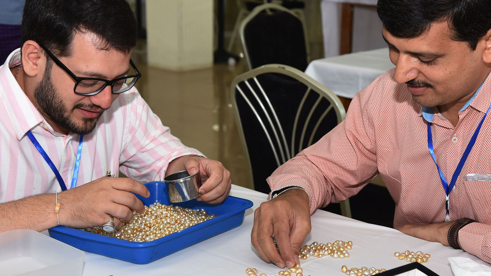 A merchant evaluates pearls on the second day of the Myanmar Pearl Auction in Nay Pyi Taw. Photo: MNA