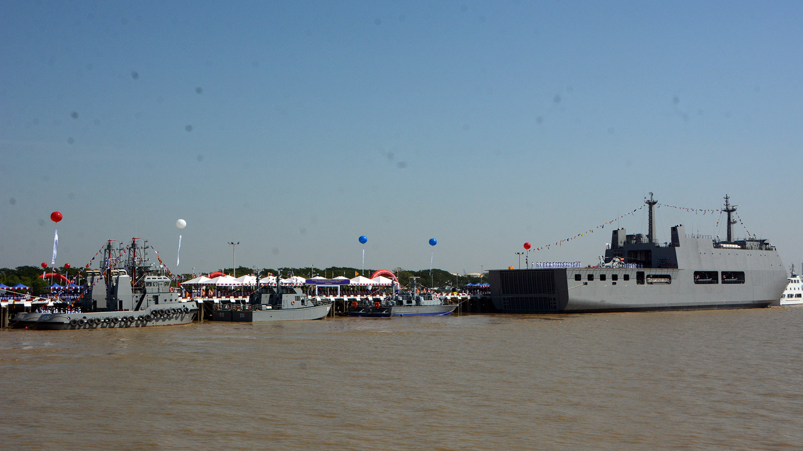 A commissioning ceremony of new naval vessels to mark the Myanmar Navy's 72nd anniversary held at the No. 3 Jetty of the Navy in Yangon.Photo: Office of the Commander-in-Chief of Defence Services