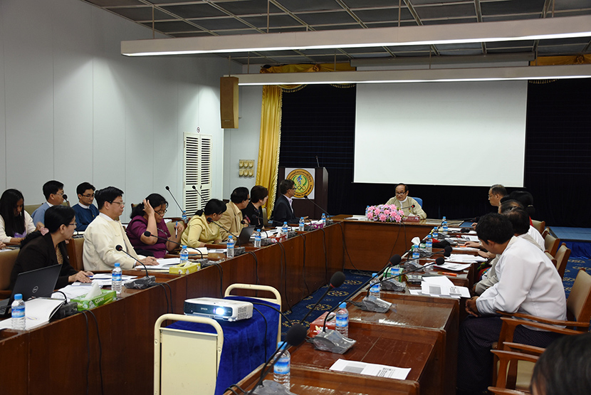 Union Minister Dr Myint Htwe attends the meeting to implementation of processes with the acquisition of World Health Organization funds for 2020-2021 yesterday.Photo: MNA