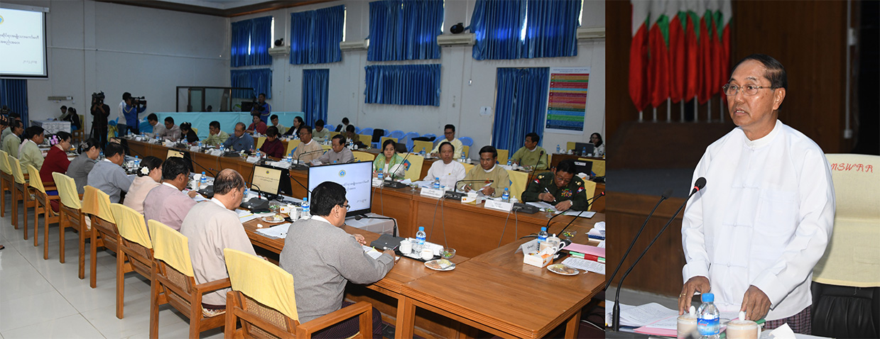 Vice President U Myint Swe delivers the speech at the third meeting of National Social Protection Committee in Nay Pyi Taw yesterday.Photo: MNA