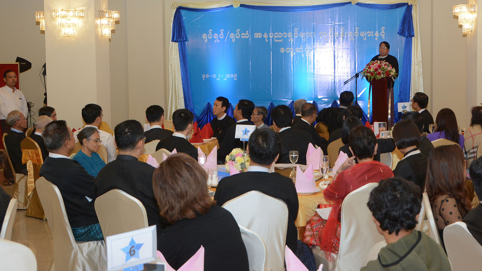 Union Minister Dr Pe Myint addresses during the meeting with the artists and stakeholders of movie and broadcast industries in Yangon, yesterday.Photo: MNA
