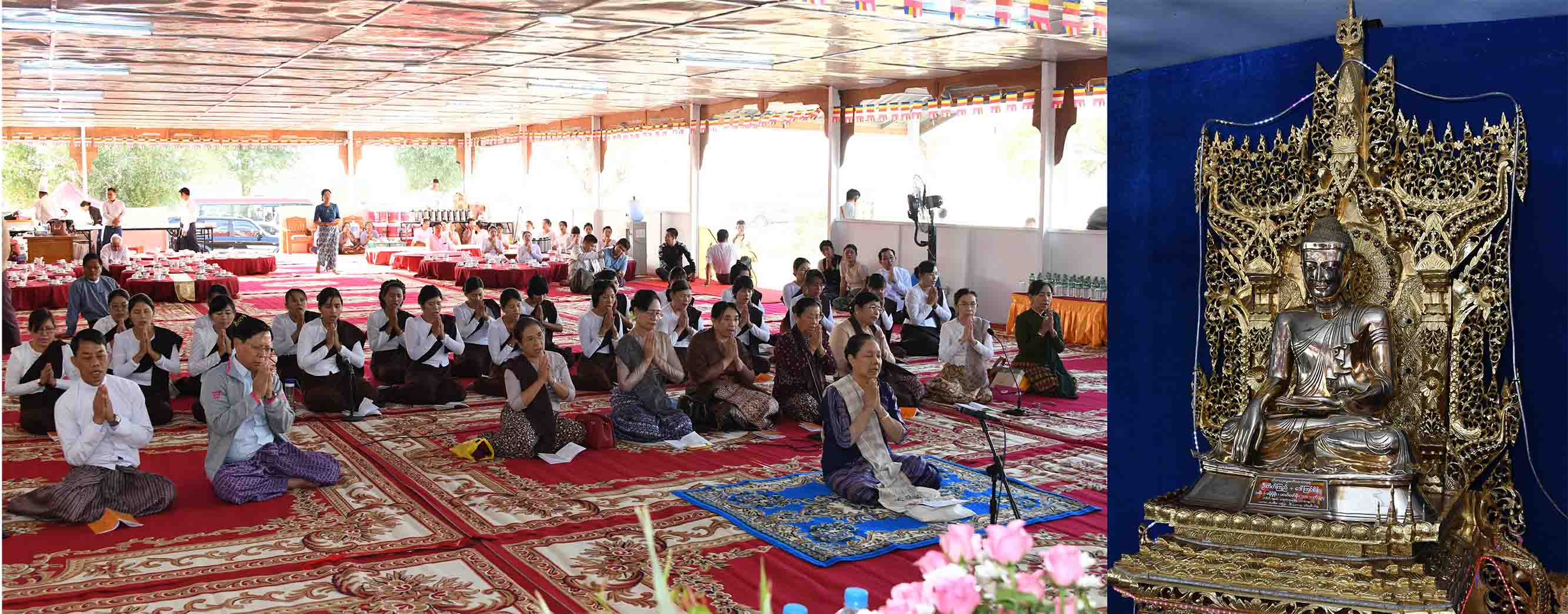 The congregation led by First Lady Daw Cho Cho hold the religious ritual at the Eternal Peace Pagoda.Photo: MNA