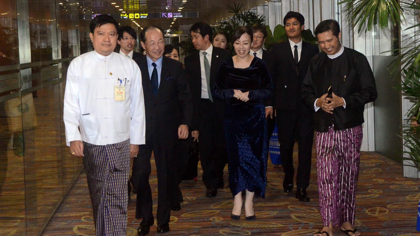 Japanese Princess Yoko of Mikasa seen off by officials at the Yangon International Airport on 16 December. Photo: MNA