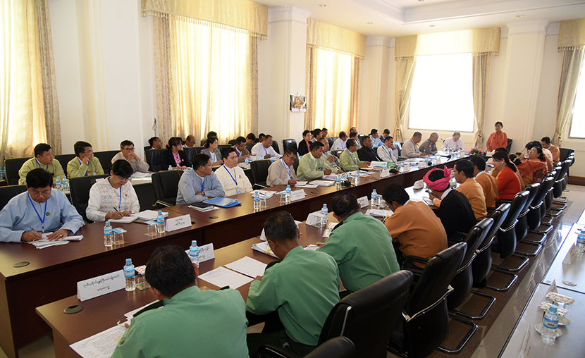 The first day of the meeting of the Government's Guarantees, Pledges and Undertakings Vetting Committee of the Pyithu Hluttaw in progress on 16 December.Photo: MNA