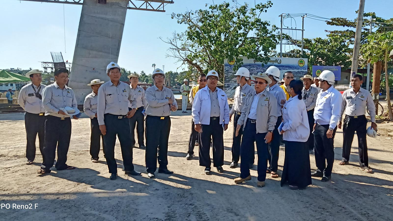 Union Minister for Construction U Han Zaw inspects the progress of the Yangon-Pathein road upgrading construction yesterday. Photo: MNA