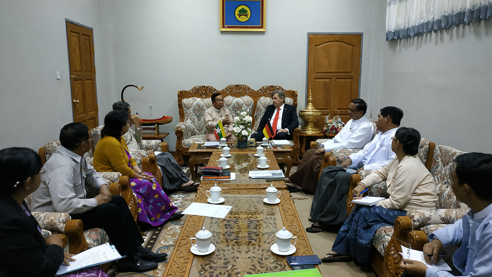 Union Minister U Han Zaw meets with Ambassador of the Federal Republic of Germany Mr Thomas Neisinger at the Ministry of Construction in Nay Pyi Taw yesterday.Photo: MNA