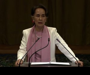 State Counsellor Daw Aung San Suu Kyi delivers statement at the International Court of Justice at The Hague, the Netherlands.Photo: MNA