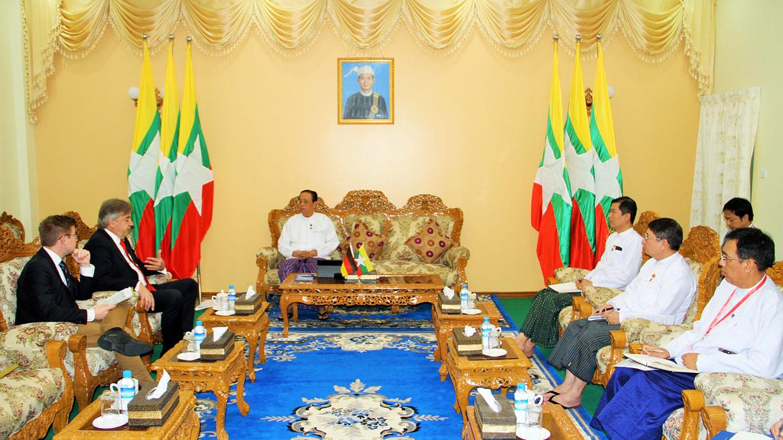 Union Minister U Win Khaing meets with German Ambassador Mr Thomas Neisinger in Nay Pyi Taw yesterday.Photo: MNA
