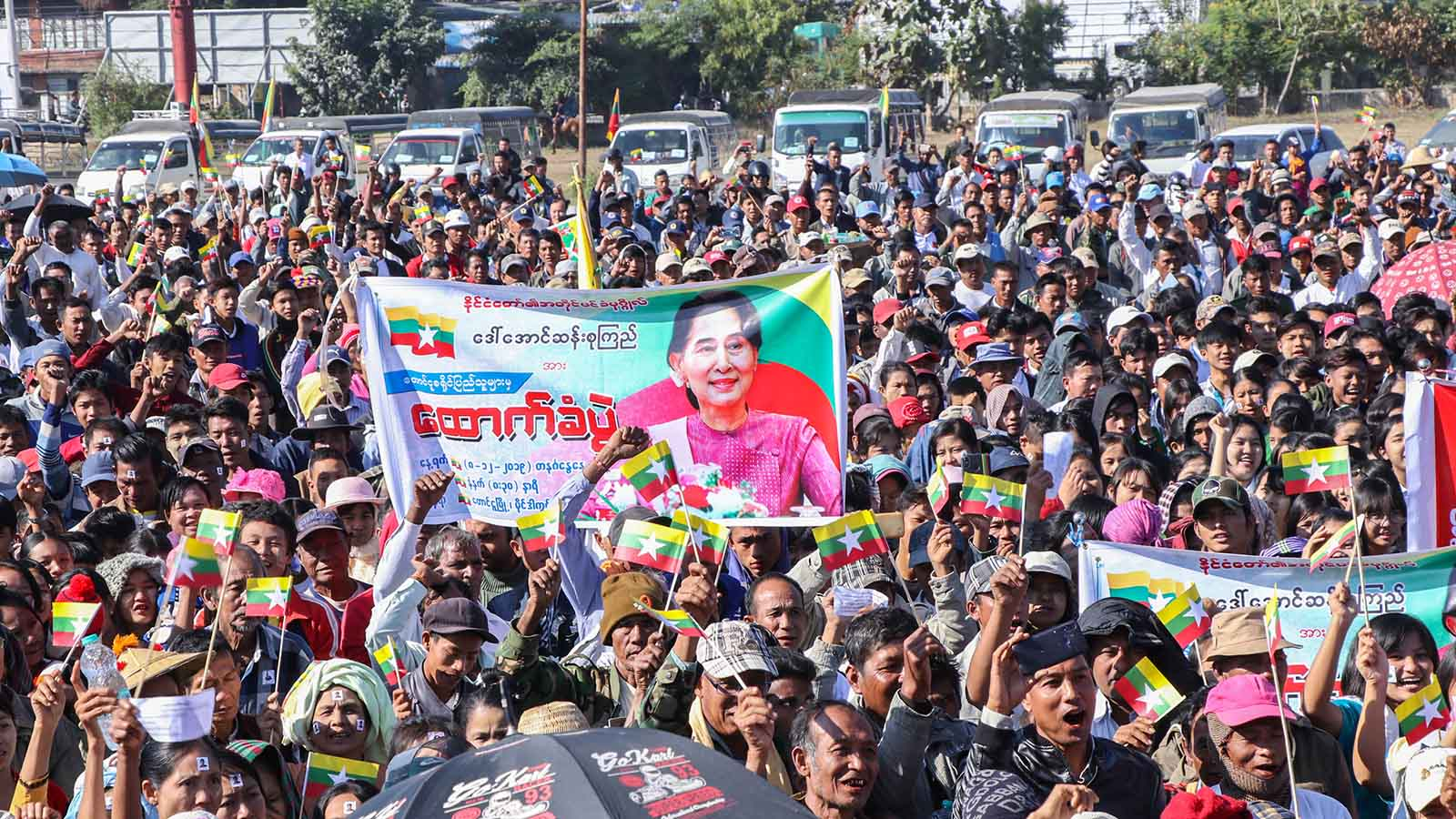The mass rally in Toungoo supports State Counsellor Daw Aung San Suu Kyi who will contest the case filed by Gambia at the International Court of Justice. Photo: MNA