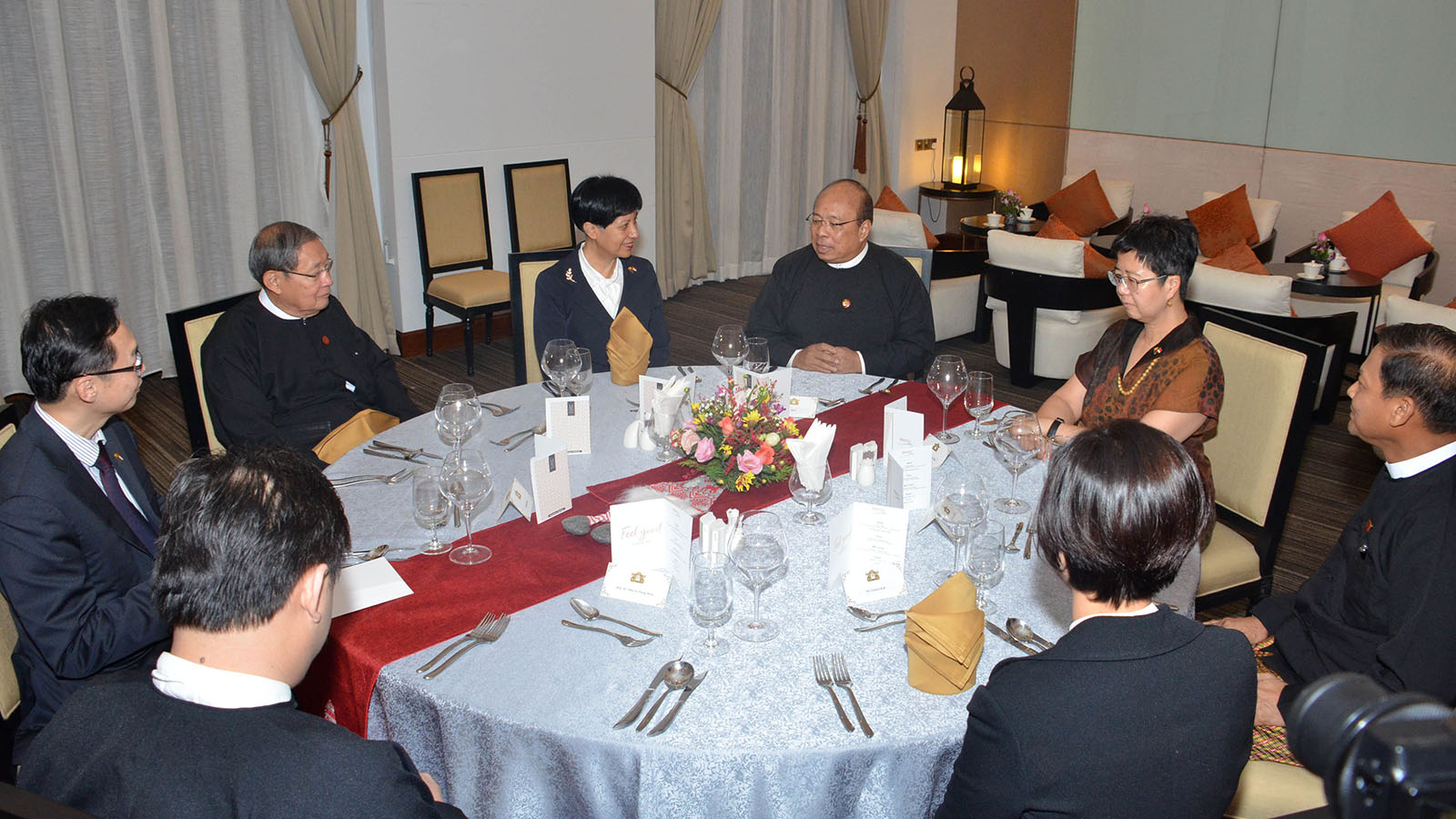 Union Minister U Thaung Tun hosts dinner for Minister in the Prime Minister's Office and Second Minister for Education and Finance of the Republic of Singapore, Ms. Indranee Rajah in Nay Pyi Taw, Photo: MNA