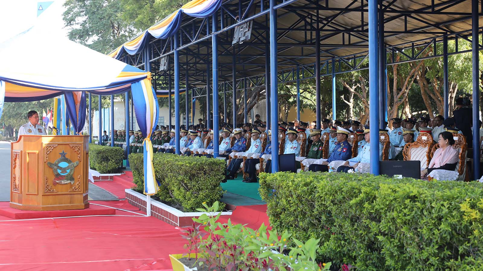Commander-in-Chief of Defence Services Senior General Min Aung Hlaing delivers the speech at the 72nd anniversary of Air Force.Photo: Office of the C-IN-C of Defence Services